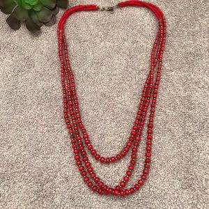 ZAD Red Layered Necklace